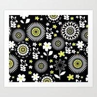 Spring Daisy Pattern Art Print