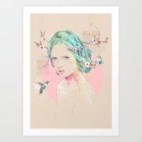 cherry blossom Art Prints featuring Cherry Blossom  by Ariana Perez