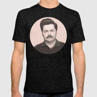 Ron Swanson Mens Fitted Tee Tri-Black SMALL