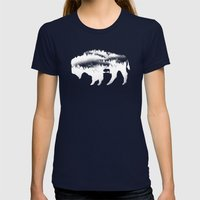 American Bison Womens Fitted Tee Navy SMALL