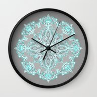 Teal And Aqua Lace Manda… Wall Clock