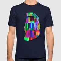 GLITCH Mens Fitted Tee Navy SMALL