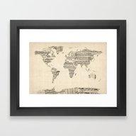 Old Sheet Music World Ma… Framed Art Print