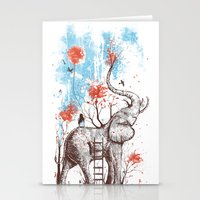 elephants Stationery Cards featuring A Happy Place by Norman Duenas