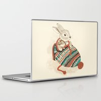 christmas Laptop & iPad Skins featuring cozy chipmunk by Laura Graves