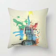 Swan Bell Tower Abstract Throw Pillow