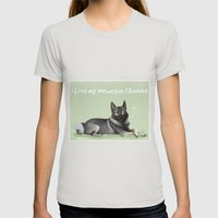 Norwegian Elkhound Womens Fitted Tee Silver SMALL