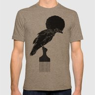 The Black Crow Mens Fitted Tee Tri-Coffee SMALL