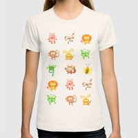 Baby animals Womens Fitted Tee Natural SMALL