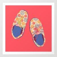 Flowery Shoes Art Print