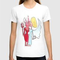 Angel/devil lesbian kiss Womens Fitted Tee White SMALL