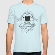 PUG KING Mens Fitted Tee Light Blue LARGE