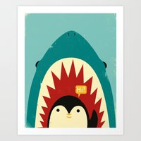 penguin Art Prints featuring Hi! by Jay Fleck