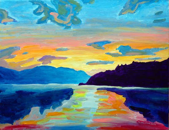 Crossing Lake Okanagan Art Print