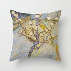 Blossoming Pear Tree by Vincent van Gogh Throw Pillow