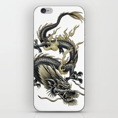 Lucky Chinese Dragon In Grey and Gold iPhone & iPod Skin