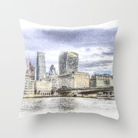 City Of London And River… Throw Pillow