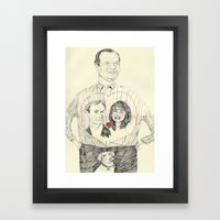 Frasier wearing a tshirt of Niles and Daphne in a luv heart Framed Art Print