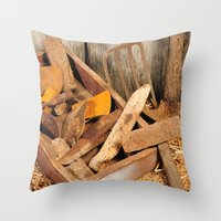 Rusted tools Throw Pillow