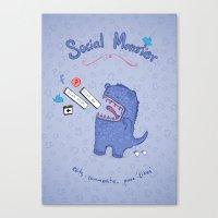 Social Monster Blue Canvas Print