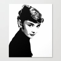 Audrey Hepburn Black and white Canvas Print