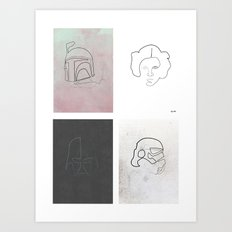 One line Starwars Poster Art Print