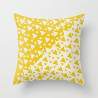 Yellow Triangles Throw Pillow