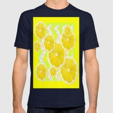 YELLOW ART LEMON SLICES PATTERN DESIGNS   Mens Fitted Tee Navy SMALL