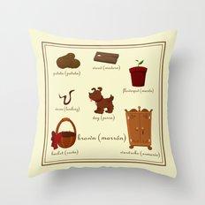 Colors: brown (Los colores: marrón) Throw Pillow