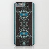 iPhone & iPod Case featuring Aqua Double Denim Hamsas by Nina May Designs