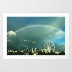 Rainbow over Melbourne Art Print