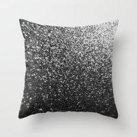 Silver Sparkle Glitter Throw Pillow