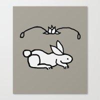 Rabbit And Rose Motif Canvas Print