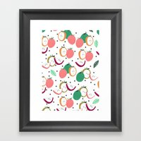 Apple print. illustration, art, print, design, pattern, fruit, food, fun, print design Framed Art Print