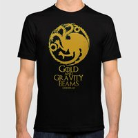 Gold and Gravity Beams Mens Fitted Tee Black SMALL
