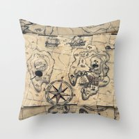 Old Nautical Map Throw Pillow