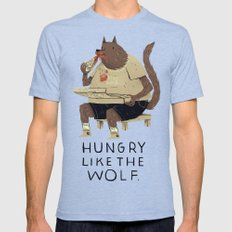 hungry like the wolf Mens Fitted Tee Tri-Blue SMALL