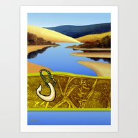 Water Meets Sand: Te Paki Stream Art Print