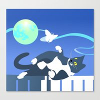 Jack Cat and the Moth Canvas Print