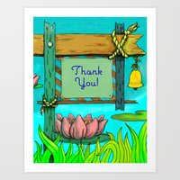 Sign-Post Waterlilies { Thank You version } Art Print