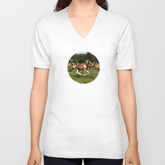 Spring Horse Run V-neck T-shirt