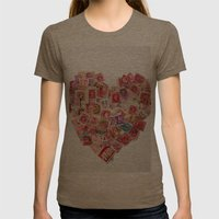 Sending Out A Love Letter - Stamps Womens Fitted Tee Tri-Coffee SMALL