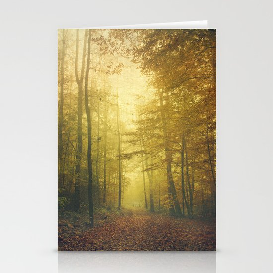 fall morning forest Stationery Card