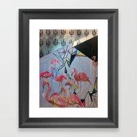 Flamingo Teaparty Framed Art Print