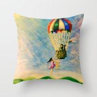 BALLOON LOVE: Flying Awa… Throw Pillow
