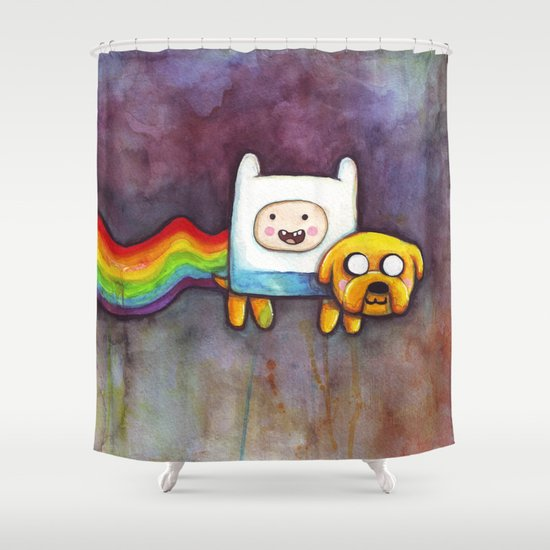 Nyan Time with Jake and Finn Shower Curtain