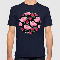 Peonies on black Mens Fitted Tee Navy SMALL