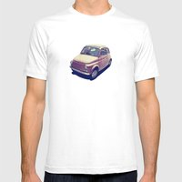 Fiat 500 - Italia Car Mens Fitted Tee White SMALL