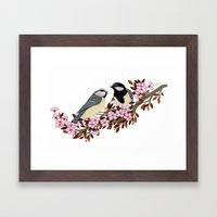 Chickadee Couple on Cherry Branch Framed Art Print
