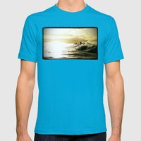 Surf Sunset Mens Fitted Tee Teal SMALL